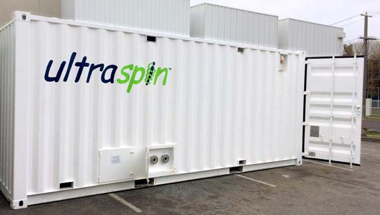 Ultraspin rental option in a plug and play container - 'Ultrapak'